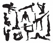 foto of pranayama  - A set of highly detailed high quality yoga pose silhouettes - JPG