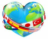 Heart Globe With Flags poster