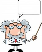 image of physicist  - Funny Scientist Or Professor Holding A Pointer With Speech Bubble Cartoon Character - JPG