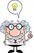 stock photo of physicist  - Smiling Scientist Or Professor With Good Idea Cartoon Character - JPG