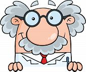 image of physicist  - Scientist Or Professor Over Sign Cartoon Character - JPG