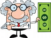 stock photo of physicist  - Scientist Or Professor Showing A Dollar Bill Cartoon Character - JPG