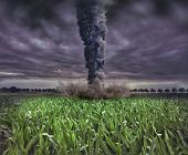 image of windy weather  - large tornado over the meadow  - JPG
