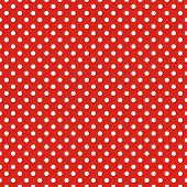 stock photo of dots  - Retro seamless vector pattern or texture with white polka dots on red background - JPG