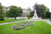 foto of mozart  - Mozart Monument in Maria Theresien square Wien Austria - JPG