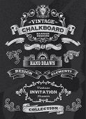 Collection of banners and ribbons in a vintage retro design style. Black chalkboard background. Label and artwork decoration. Set of calligraphic elements, frames, vintage labels. Vector illustration poster