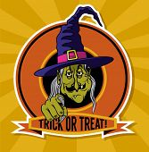 Trick or Treat Emblem - Halloween cartoon poster with a ghastly witch offering to be tricked or trea