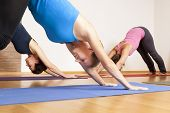 stock photo of gymnastic  - An image of some people doing yoga exercises - JPG