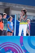 First Lady Michelle Obama joined by professional tennis players at Arthur Ashe Kids Day