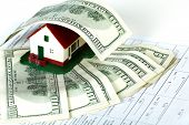 picture of contract  - Family house with money and contract - JPG