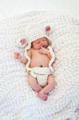 picture of lamb  - Eight day old sleeping newborn baby wearing a crocheted lamb hat and diaper cover - JPG