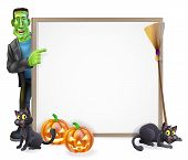 image of frankenstein  - Halloween sign or banner with orange Halloween pumpkins and black witch - JPG