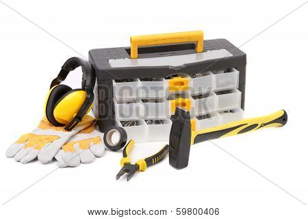 Set of tools and instruments with toolbox.