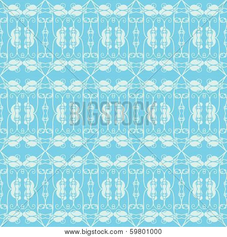 Neutral Floral Ornament. Cool Blue