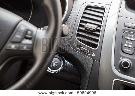 Interior Of Vehicle With Automatic Start Engine Button