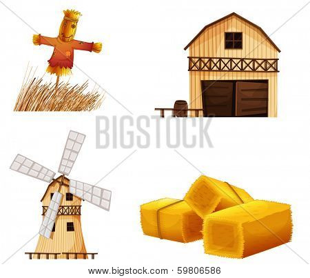Illustration of the barn houses, hays and a scarecrow on a white background