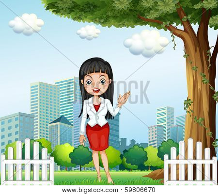 Illustration of a pretty lady standing near the tree across the buildings