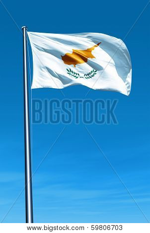 Cyprus flag waving on the wind