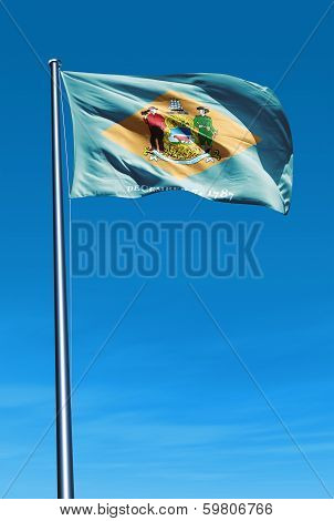 Delaware (USA) flag waving on the wind