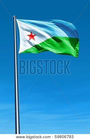 Djibouti flag waving on the wind
