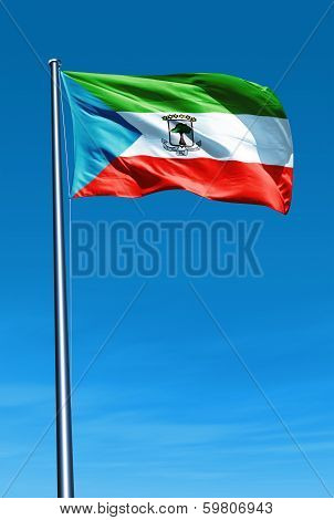 Equatorial Guinea flag waving on the wind