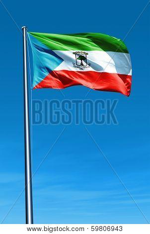 Equatorial Guinea flag waving on the wind