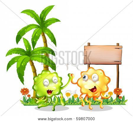 Illustration of the two bestfriends in front of the empty wooden signboard on a white background