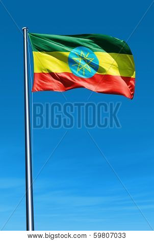Ethiopia flag waving on the wind