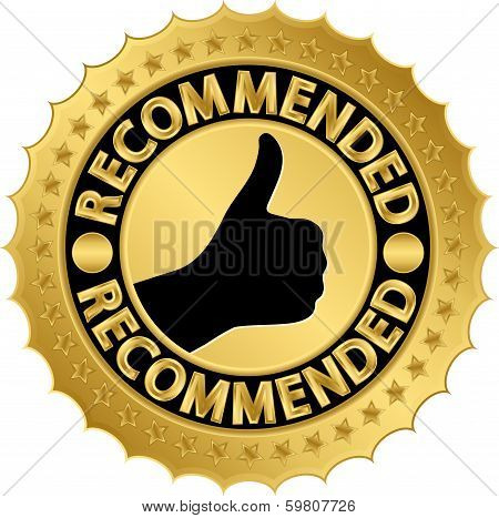 Recommended golden label, vector illustration