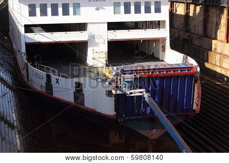 A contractor working on a car ferry