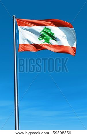 Lebanon flag waving on the wind
