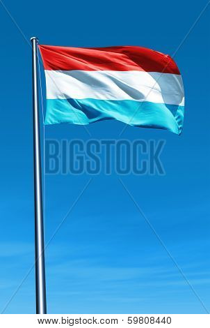 Luxembourg flag waving on the wind