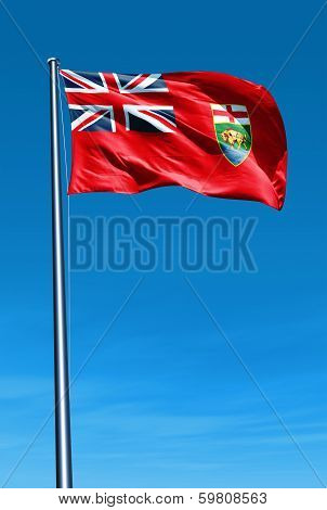 Manitoba (Canada) flag waving on the wind