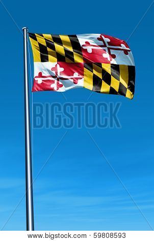 Maryland (USA) flag waving on the wind