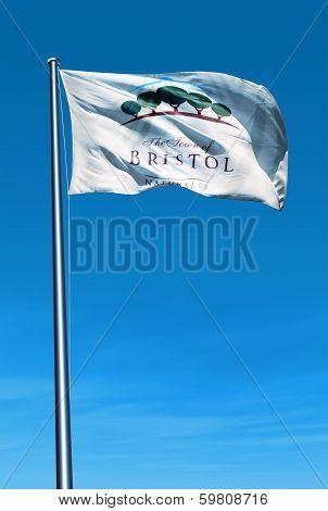 Bristol Wisconsin (U.S.) flag waving on the wind