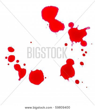 Many blood drops on a white background