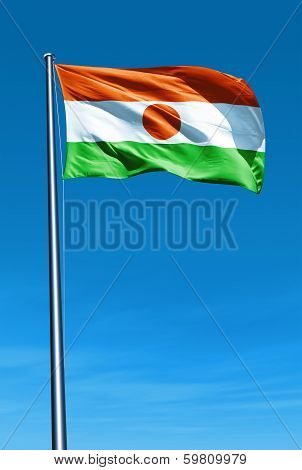 Niger flag waving on the wind