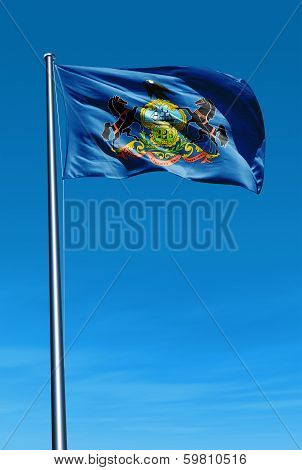 Pennsylvania (USA) flag waving on the wind