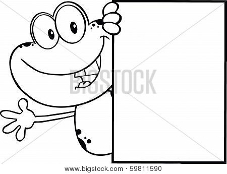 Black And White Cute Frog Cartoon Character Looking Around A Blank Sign And Waving