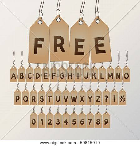 Abstract Free Tag Font And Numbers, Eps 10 Vector