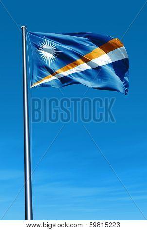 Marshall Islands flag waving on the wind