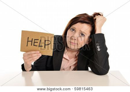 Sad Business Red Haired Woman In Stress At Work Asking For Help