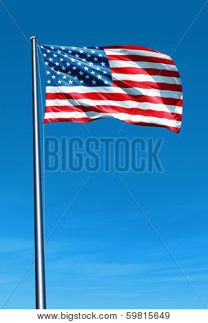 United States flag waving on the wind