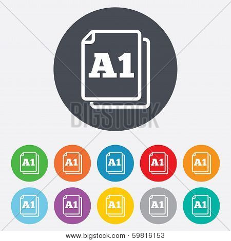 Paper size A1 standard icon. Document symbol.