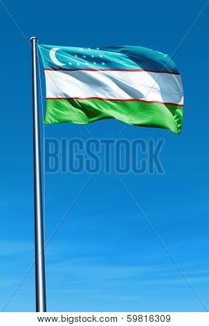 Uzbekistan flag waving on the wind