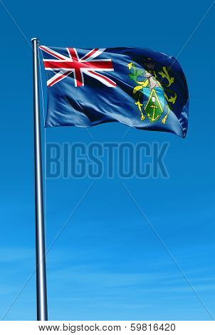 Pitcairn Islands (UK) flag waving on the wind