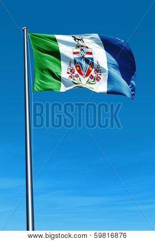 Yukon (Canada) flag waving on the wind