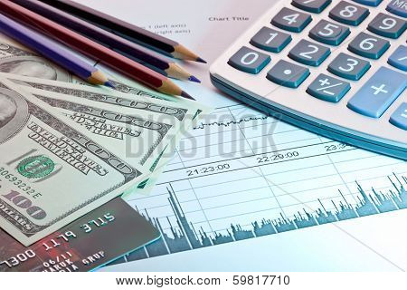Business accessories. graph, pen, calculator