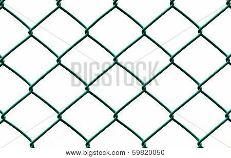 Green Wire Fence Isolated on White Background