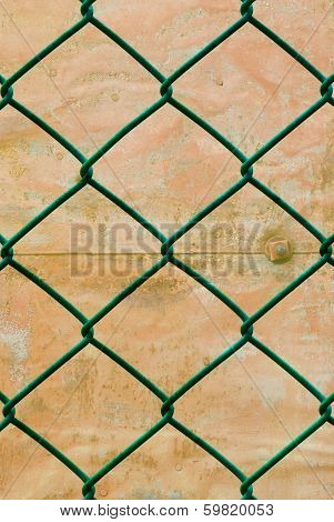 Rusted Green Wire Fence